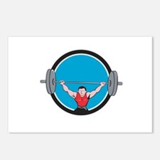 Weightlifter Deadlift Lifting Weights Circle Carto
