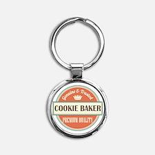 cookie baker vintage logo Round Keychain