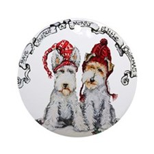 Fox Terrier Christmas Round Ornament