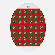 Christmas French Bulldog Oval Ornament
