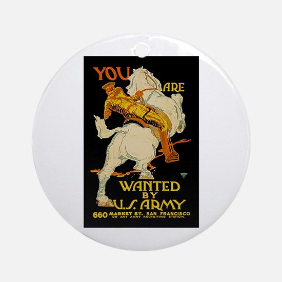 US Army You Are Wanted WWI Propaga Round Ornament