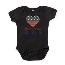 Cute 4th of july with heart Baby Bodysuit