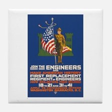 US Army Join the Engineers WWI Propa Tile Coaster