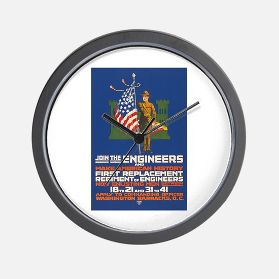 US Army Join the Engineers WWI Propaga Wall Clock