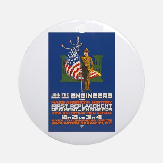 US Army Join the Engineers WWI Pro Round Ornament