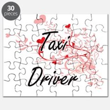 Taxi Driver Artistic Job Design with Hearts Puzzle