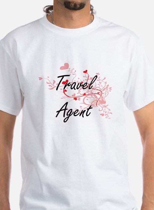 Travel Agent Artistic Job Design with Hear T-Shirt
