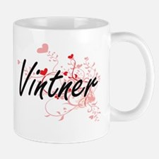 Vintner Artistic Job Design with Hearts Mugs