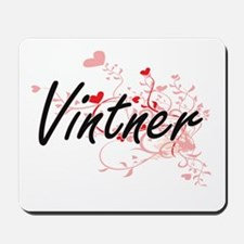 Vintner Artistic Job Design with Hearts Mousepad