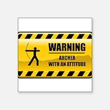 """Funny Archery Square Sticker 3"""" x 3"""""""