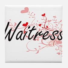 Waitress Artistic Job Design with Hea Tile Coaster