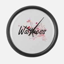 Waitress Artistic Job Design with Large Wall Clock