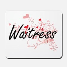 Waitress Artistic Job Design with Hearts Mousepad