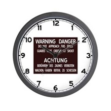 Warning Danger Achtung, Cold War Berlin Wall Clock