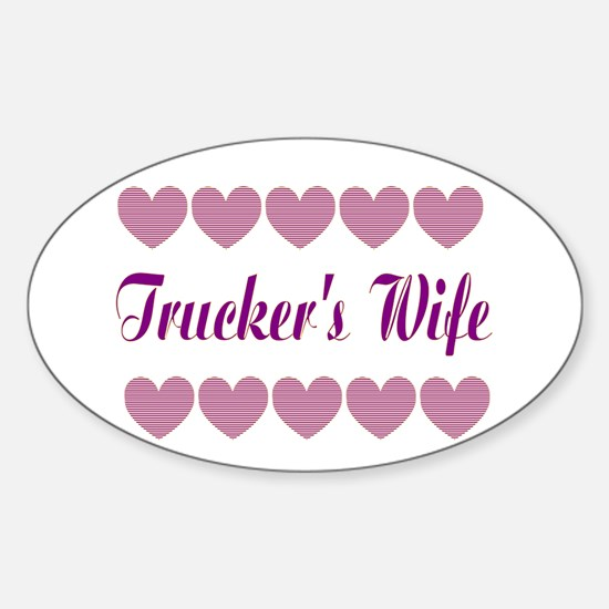 Truckers Wife With Hearts Oval Decal