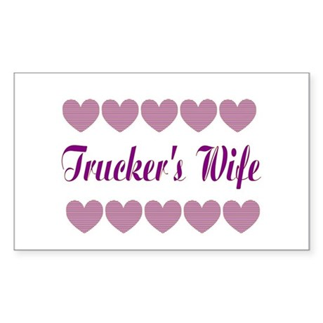 Truckers Wife With Hearts Rectangle Sticker