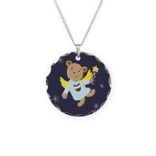 Cute Teddy Bear Christmas Angel Necklace