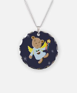 Cute Teddy Bear Christmas Angel Necklace