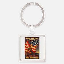 US War Bonds Top Third Liberty Loa Square Keychain