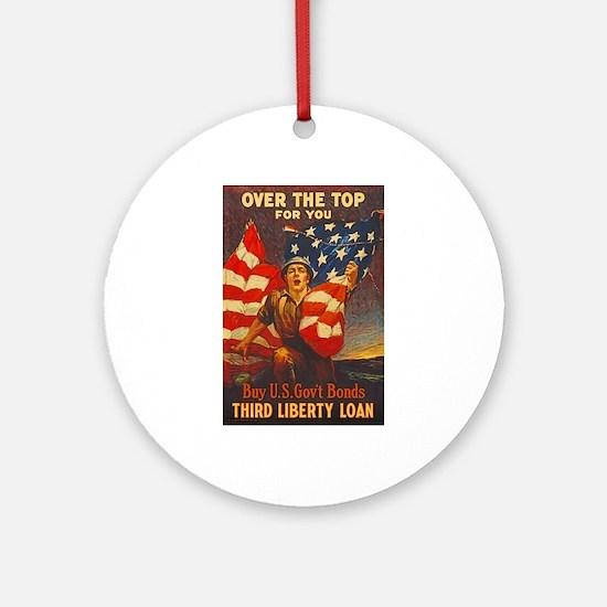 US War Bonds Top Third Liberty Loan Round Ornament