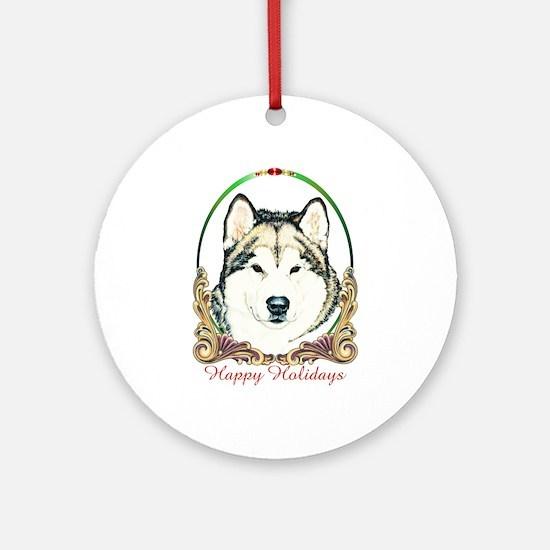 Alaskan Malamute Happy Holidays Round Ornament
