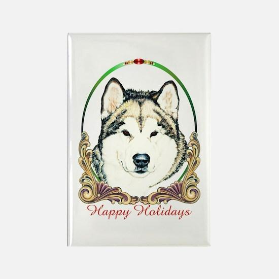 Alaskan Malamute Happy Holidays Rectangle Magnet