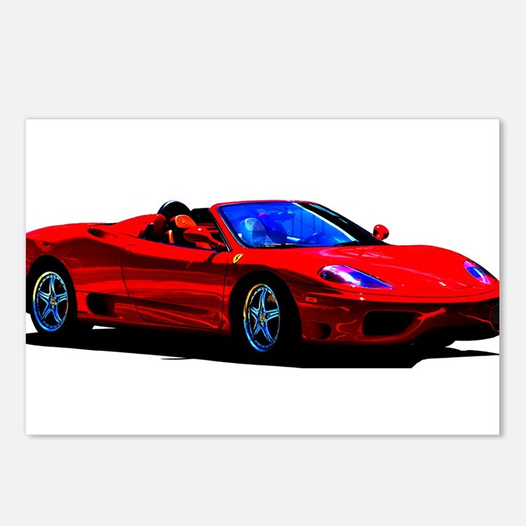 Red Ferrari - Exotic Car Postcards (Package of 8)