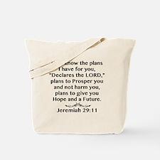 Jeremiah 29:11 Black Print Tote Bag