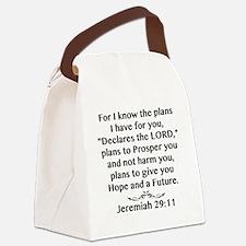Jeremiah 29:11 Black Print Canvas Lunch Bag