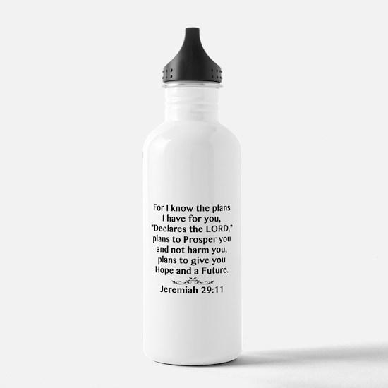 Jeremiah 29:11 Black Print Water Bottle