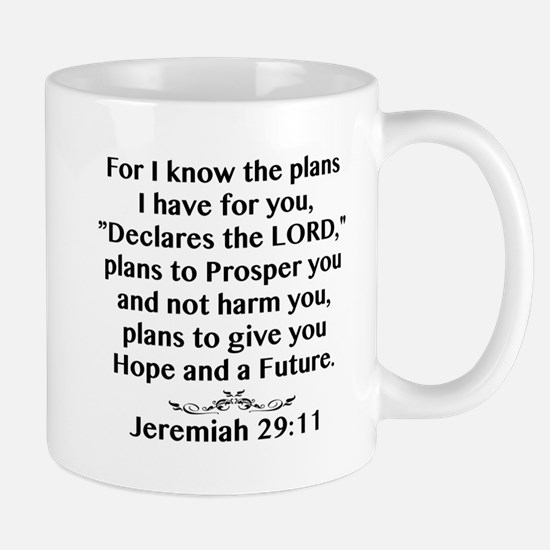 Jeremiah 29:11 Black Print Mugs