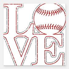 "Love Baseball Classic Square Car Magnet 3"" x 3"""