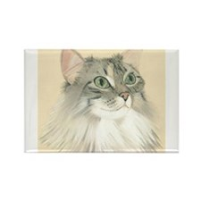 Norwegian Forest Cat Painting Rectangle Magnet