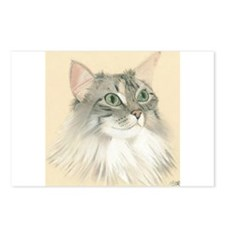 Norwegian Forest Cat Painting Postcards (Package o