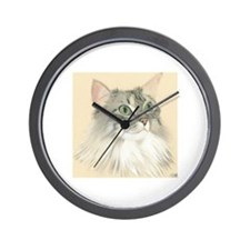 Norwegian Forest Cat Painting Wall Clock
