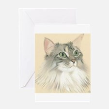 Norwegian Forest Cat Painting Greeting Card