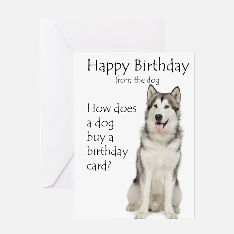 Funny Husky Birthday Greeting Cards
