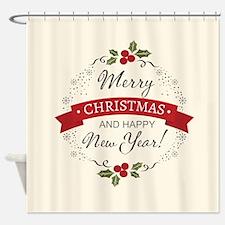 Merry Christmas Winter Holidays Shower Curtain