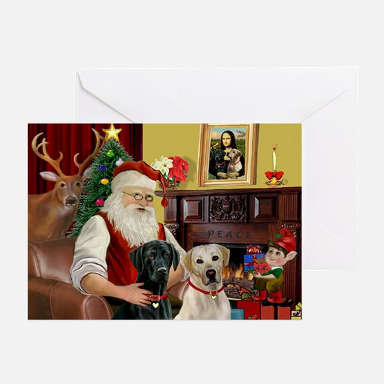 Santa's 2 Labs (Y+B) Greeting Cards (Pk of 20)