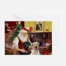 Santa's 2 Labs (Y+B) Greeting Card