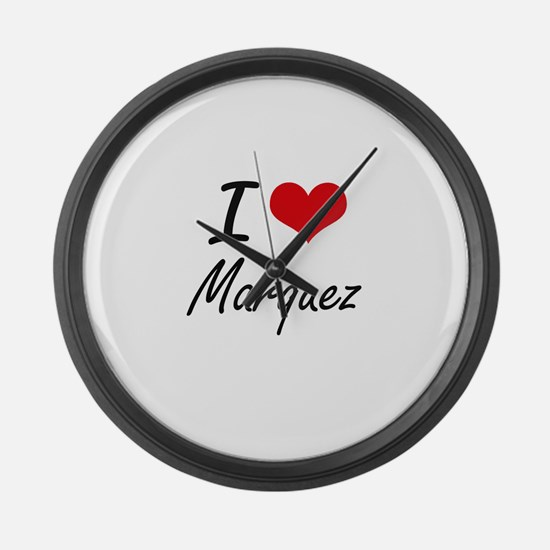 I Love Marquez artistic design Large Wall Clock