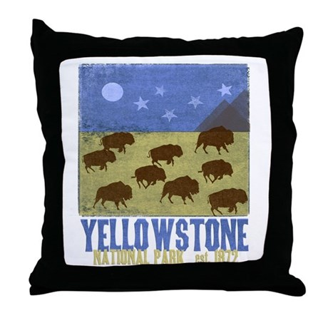 Throw Pillow Movie Scene : Yellowstone Bison Scene Throw Pillow by YellowstoneParkGifts