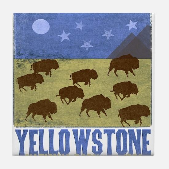 Yellowstone Bison Scene Tile Coaster