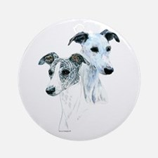 Whippet, pair Round Ornament