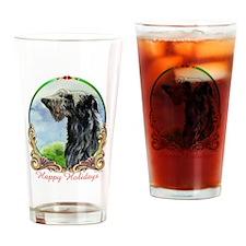 Scottish Deerhound Happy Holidays Drinking Glass