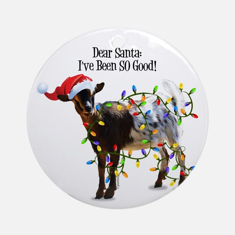 Christmas Goat I've Been So Good Round Ornament