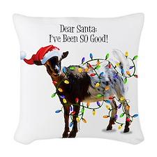 Christmas Goat I've Been So Go Woven Throw Pillow