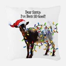 Christmas Goat I've Been So Go Woven Throw Pillow