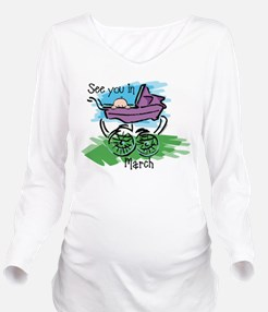 See You In March Long Sleeve Maternity T-Shirt