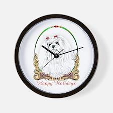 Maltese Happy Holidays Wall Clock